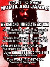 Save Mumia Abu-Jamal - external medical aid - NOW!