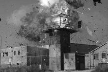 Ein explodierender Gefänginswachturm