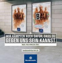 Werbeanzeige der Bundeswehr, die ein Adbusting aufnimmt und sich wieder aneignet