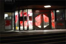 Eingefärbter Eingang des OLG-Stuttgart