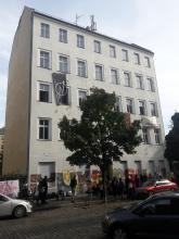 Besetztes Haus in der Berlichingenstraße 12 in Moabit