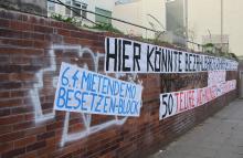 Protest gegen Aldi-Neunau auf ehemaligem Hofbräu-Areal in Stuttgart-Heslach