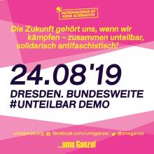 """Grafik mit Text """"Habt keine Angst! Die Zukunft gehört uns, wenn wir kämpfen. Zusammen unteilbar, solidarisch antifaschistisch."""""""