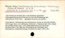 Katalogkarte der Humboldt-Universität zur Dissertation von Fritz Werner (Greifswald, 1934), später Vorsitzender Richter am Bundesverwaltungsgericht