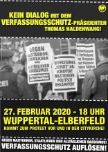 Keine Bühne dem Verfassungschutz-Präsidenten Haldenwang am 27.2. in Wuppertal