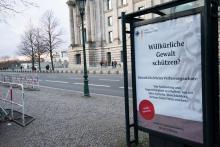 Bis zur Kenntlichkeit entstellte Personalwerbung des Geheimdienst am Bundestag 2020