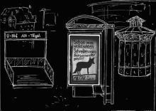 Eine Illustration des Vorplatzes vom U-Bahnhof Alt-Tegel. Mittig: Ein Adbusting in einer Werbevitrine.